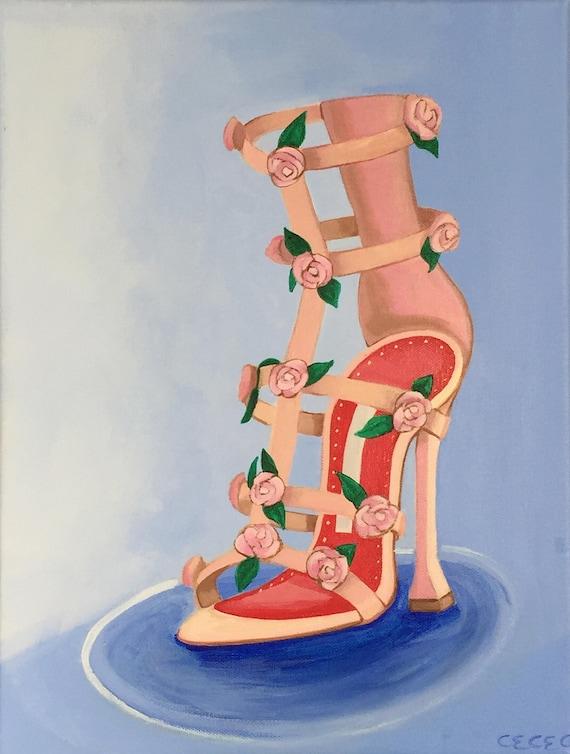 """Manolo Manolo Manolo Blahnik Rosette cage Sandal acrylique - talons, chaussure peinture, 12 """"x 16""""   Des Performances Fiables  6d2e66"""