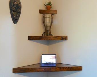 Delicieux Corner Floating Shelves/Vanity Table/Modern Corner Vanity/Floating  Shelves/Wood Shelving/Triangle Shelves/Gift For Her/Corner Writing Desk