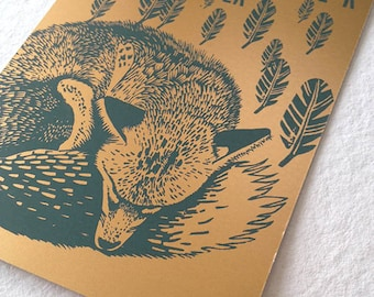 Green and gold Fox screen printed card - dreaming of flying