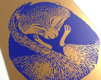 Screen printed card sleep like a light blue and gold - mystery and gumdrop
