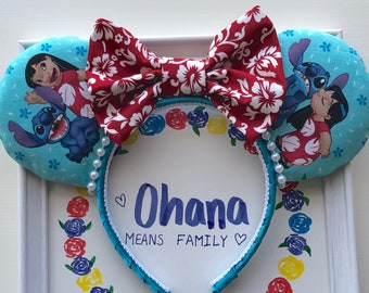 Lilo and Stitch Mickey/MInnie Mouse Ears, LiloEars, Stitch Ears, Disney Ears, Lilo Mouse Ears, Ohana Mouse Ears, Custom Disney Ears,