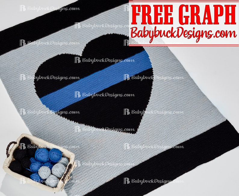 Thin Blue Line Heart Afghan Pattern  fun and easy to crochet image 0