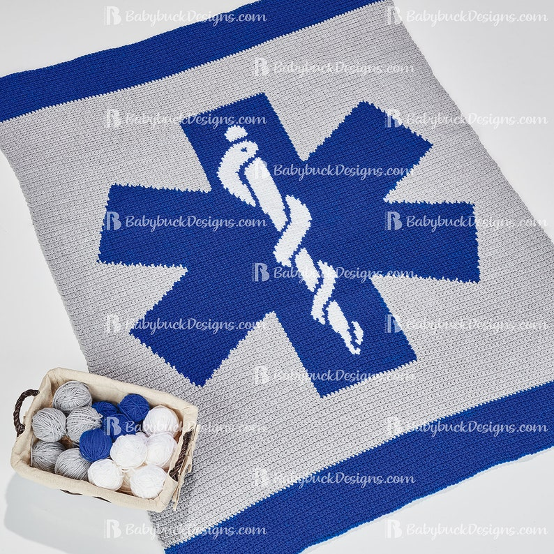 Star of Life EMT EMS Paramedic Afghan Pattern  fun and easy image 0