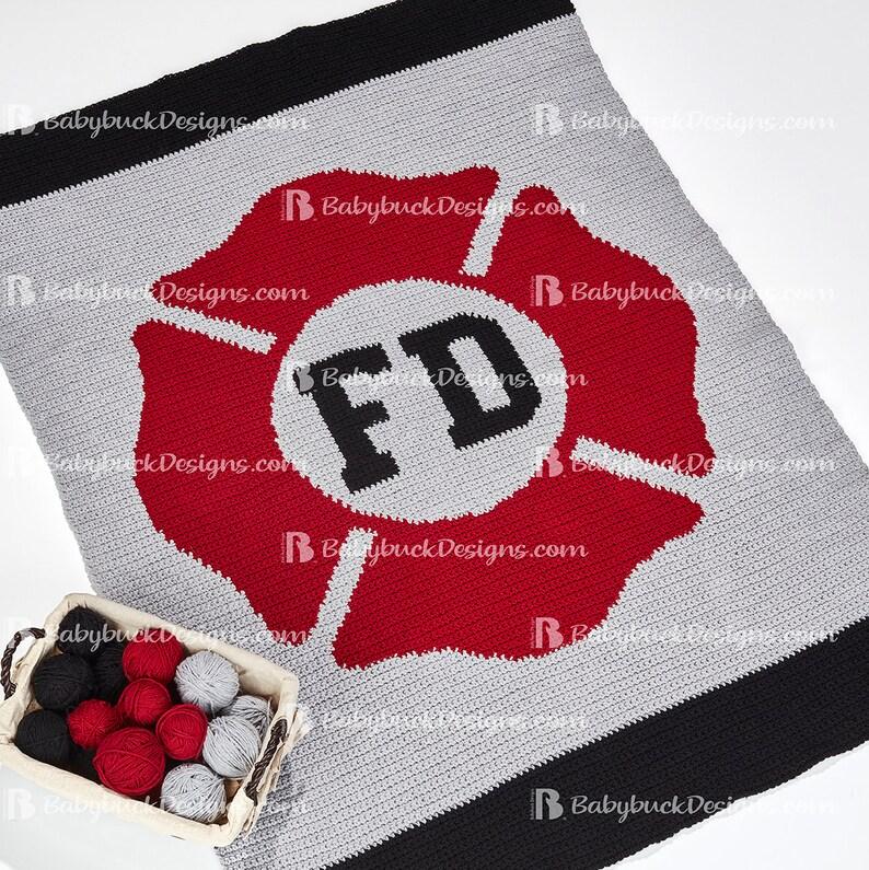 St. Florian Cross or Maltese Cross Fire Service Afghan image 0