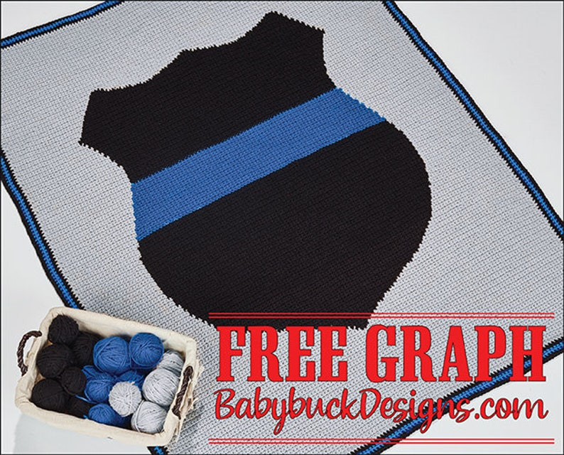 Thin Blue Line Badge Afghan Pattern  fun and easy to crochet image 0