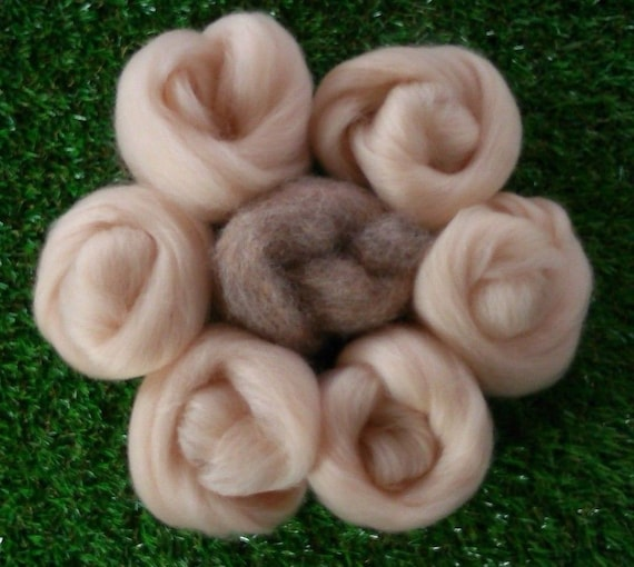 Needle felting Natural Brown /& Flesh Skin Pink Wool rovings 3d animal Projects