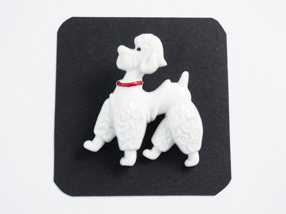 Poodle Dog/Brooch/White/Yellow/Vintage 1950s/Mid c