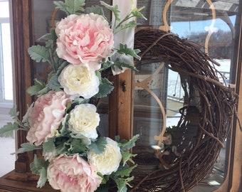Handmade Soft Pink Peonies & Cream Roses on Grapevine Wreath