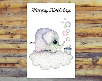 Printable Birthday Card Elephant Digital Download Happy Blank Greeting Cards Instant