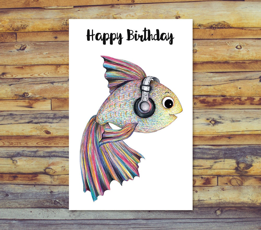 Peces cumpleaños tarjeta Digital Art tarjeta de cumpleaños | Etsy