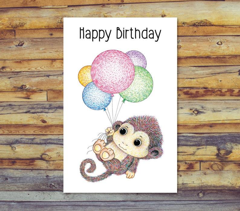 Printable Birthday Card Monkey Digital
