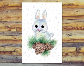 Winter Bunny Cards, Instant Download, Blank Greeting Card, Digital Download, All Occasion Cards, Winter Greeting, Rabbit Pencil Art