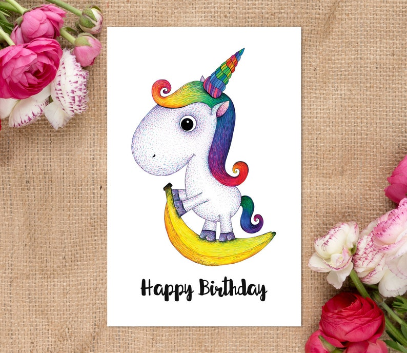 Rainbow Unicorn Card for Baby Girl Printable Birthday Card Digital Download Art Unicorn Birthday Card Unicorn Printable Greeting Card