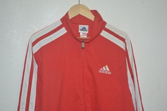 Vintage 90er Jahre Adidas drei Streifen rot Trainer Jacke