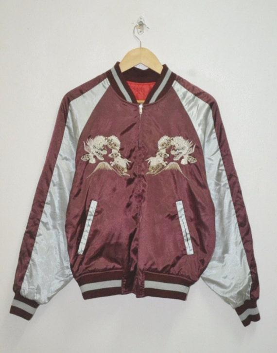 bomber jacket tadayoshi motive souvenir sukajan Vintage japan embroidery dragon 0pRpZHqw