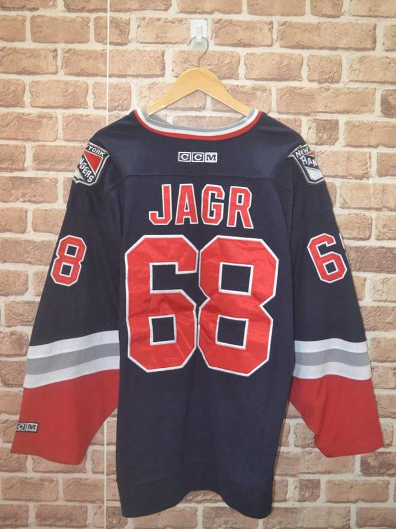 36bb27619 Vintage Ccm NY New York Rangers Jaromir Jagr  68 Liberty NHL hockey jersey  XL