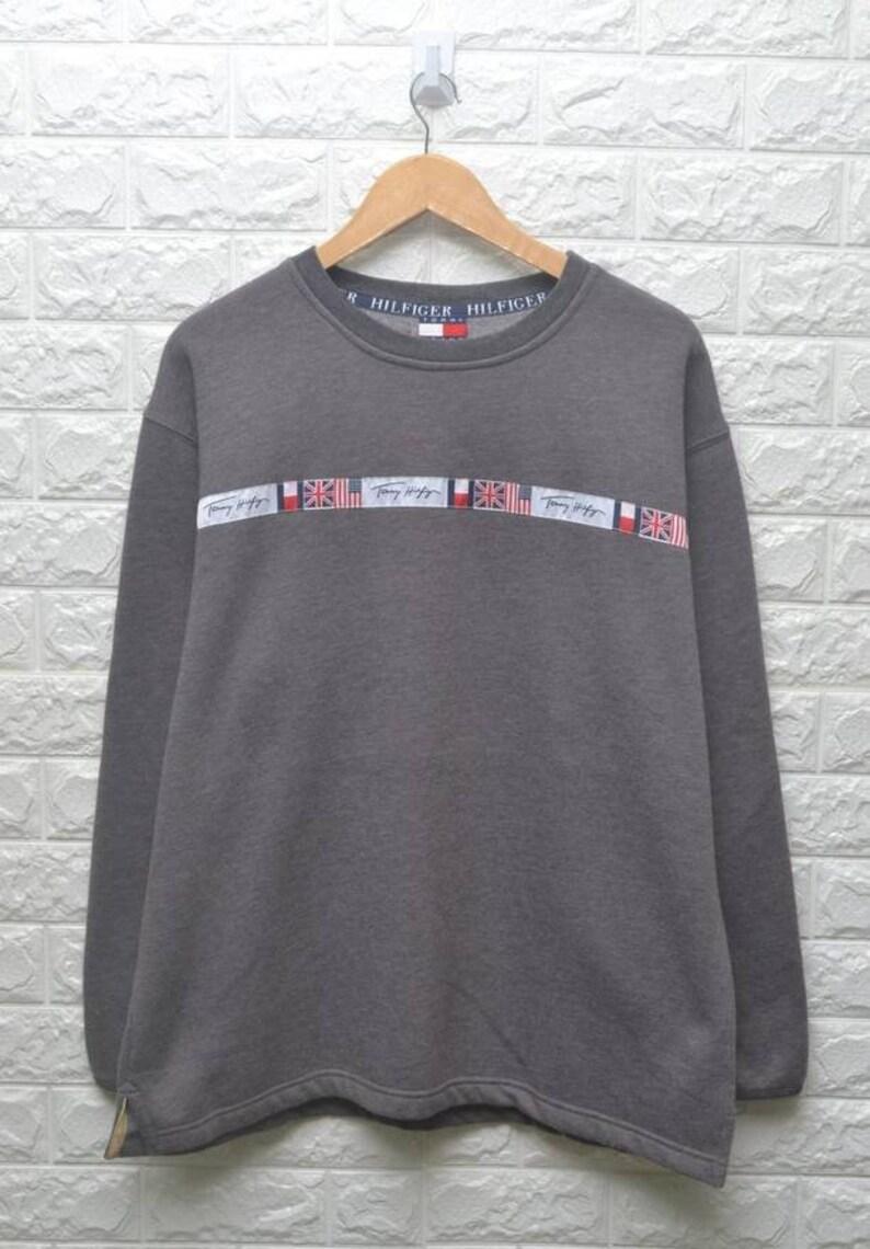 ad1d92167d9 Vintage Tommy Hilfiger Jeans flag grey sweatshirt   Etsy