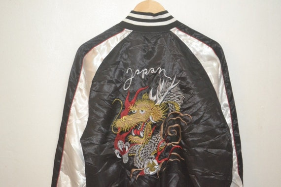 Sukajan Head Motive Satin Souvenir Dragon Jacket Embroidery Vintage Japan gUdqgR