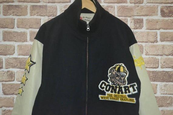 sweater Vtg Dark Wool Varsity Hip L Leather Conart Jacket Hop skate oversized Size Rap Blue rpr6YAxwq