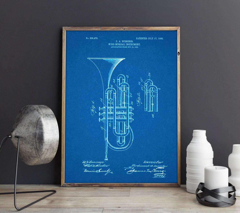 Brass Trumpet, Musical Instrument, Music Art, Music Gifts, Trumpet Band  Gifts, Musician, Music Teacher, Trumpet Gifts, Trumpet Poster, Dorm