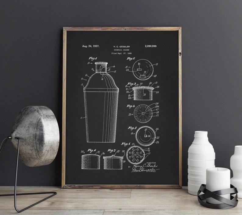 Cocktail Shaker Bar Decor Patent Poster