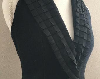 Black Ruffle Wool Vest