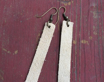 leather strip earrings // suede
