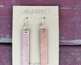 leather strip earrings // rose gold shimmer