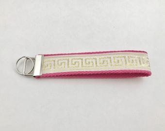 Greek key fob wristlet keychain, gift for her, wristlet, key fob, wristlet, gold, Pink, Key Chain