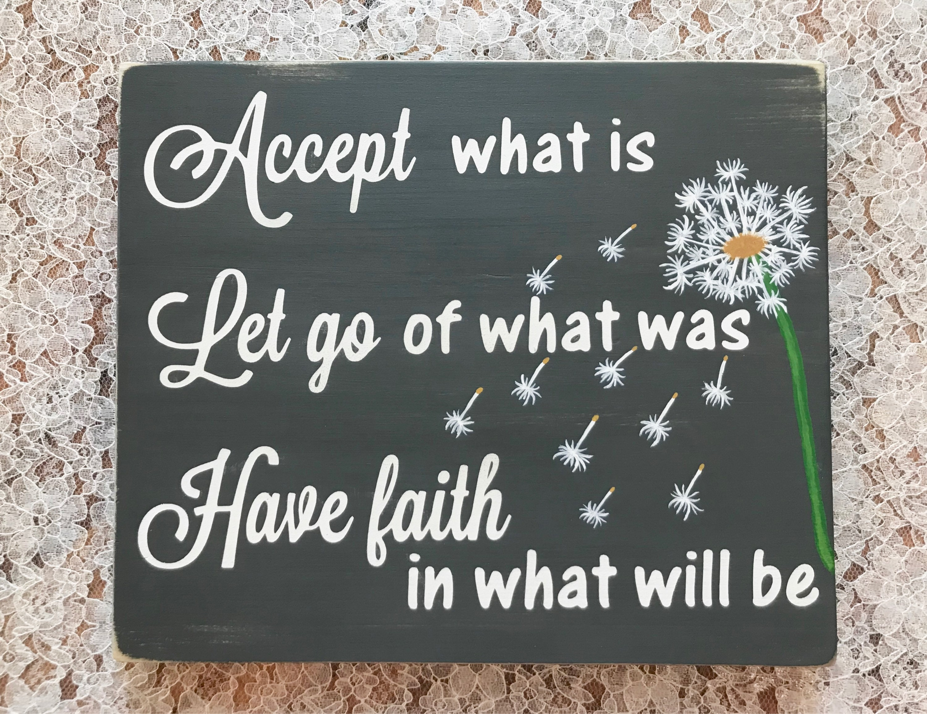 Accept Let Go Have Faith Inspirational Wooden Sign Quote Etsy