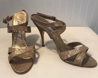 5939c63658f Manolo Blahnik Gold heels size 10.5US