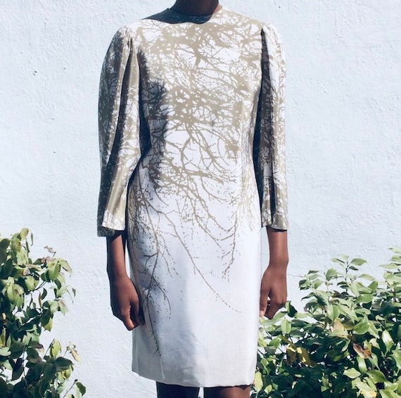 Pauline Trigere Silk BRANCHES dress with Angel Sle