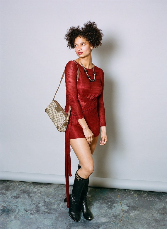 Vintage FENDI 70s wrap mini dress - image 2