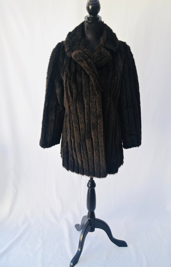 1970s  Barmink coat | Brown midi faux fur coat | F