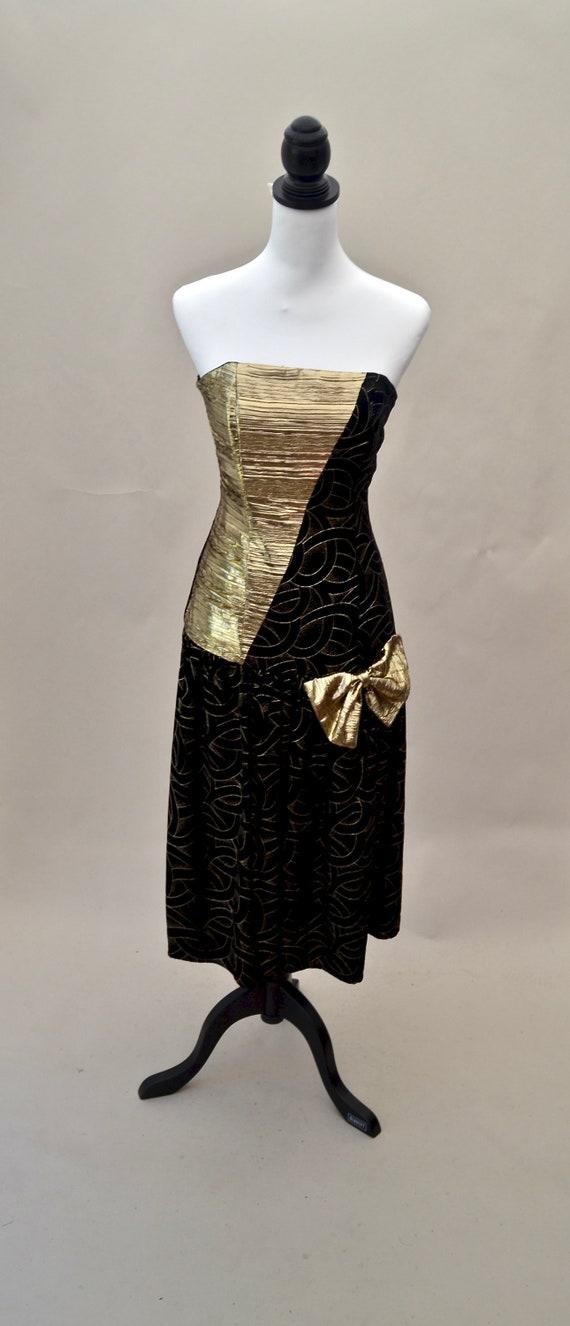 1960s strapless velvet cocktail dress