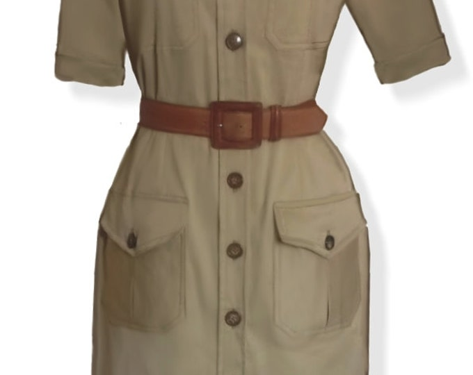 Safari style, dress, 4 patterns for 4 different sizes