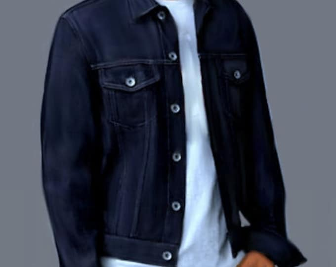 Jeans jacket for men, 4 patterns in 4 different sizes