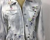 Refashioned denim jacket, denim jacket, hippy , festival jacket, fringed jacket, embroidered lace trim corset laced beaded dyed jacket