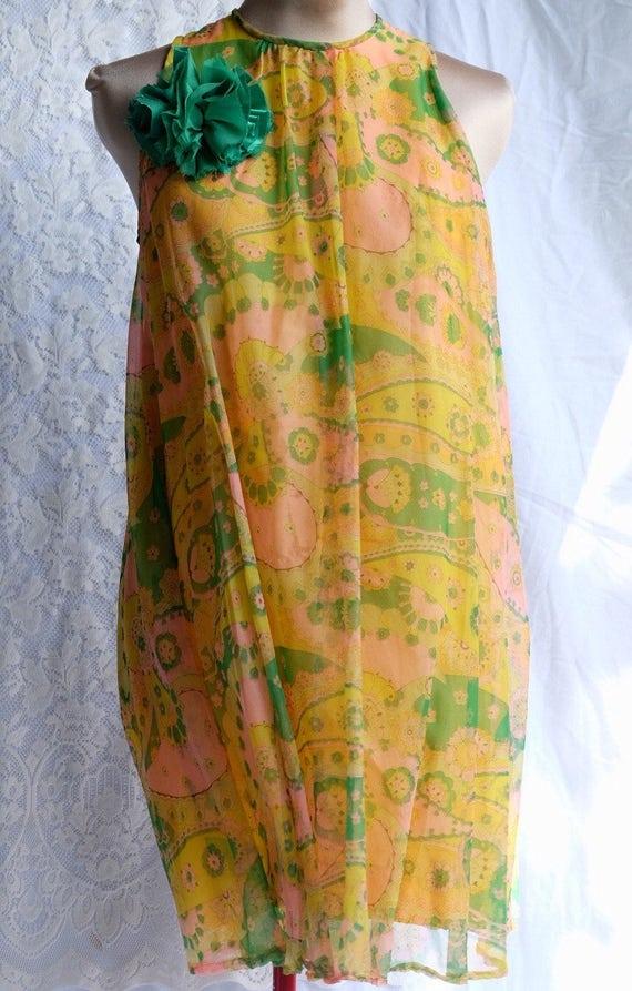 1960s Vintage nylon chiffon, yellow, mini, dress,
