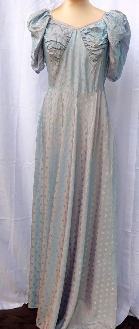 Hand made shot rayon 1940s maxi dress
