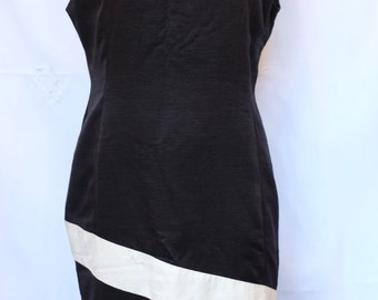 Black and cream 1980 1990s sheath dress,diagonal,office event,evening larger size