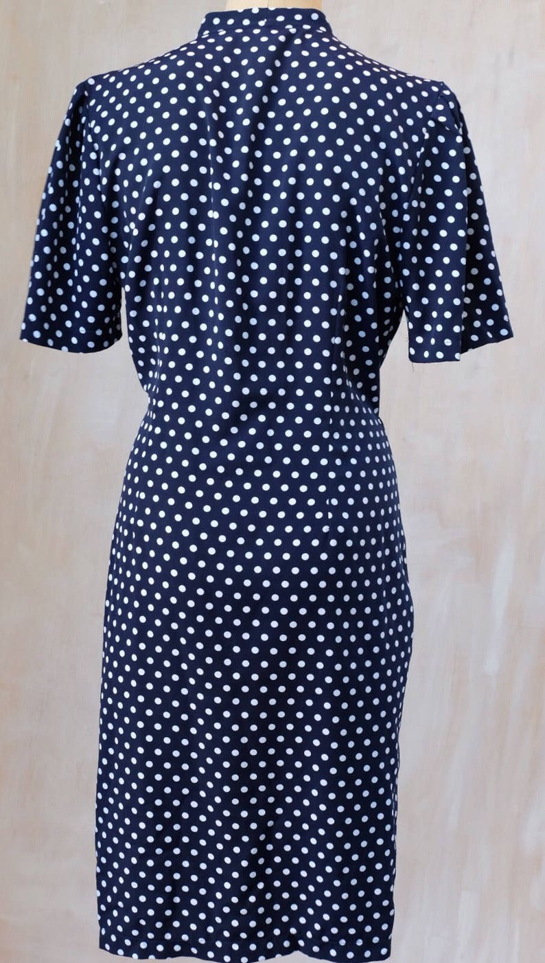 1980s-1990s blue and white polka dot dress,lightweight polyester wrap dress,double breasted,dress