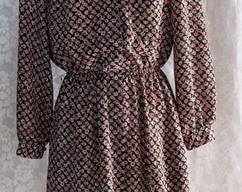 Lightweight,polyester,New/old with tags,1980s,vintage,collared,black floral dress