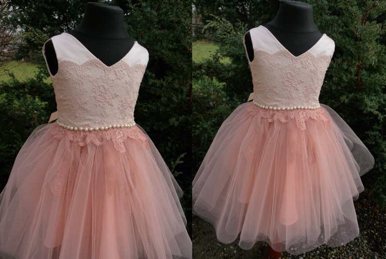 468883d539267 MIA Apricot Peach Lace Tulle Flower Girl Dress Vintage Dress | Etsy