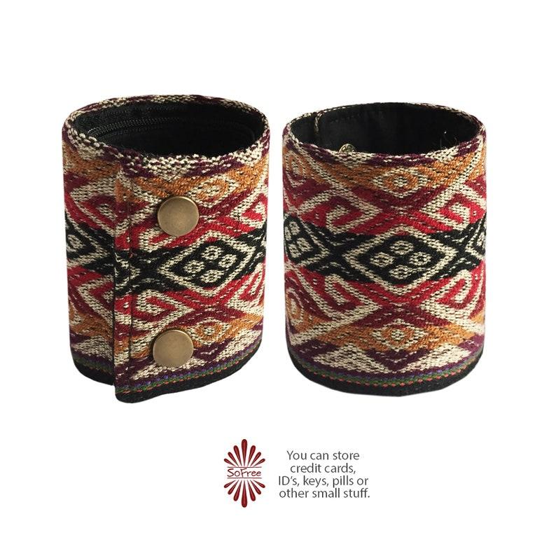 Bohemian Wallet Hidden Wallet Ethnic Peru WRISTLET WALLET Unisex Wallet Boho Wallet Hippie Wallet Bracelet Wallet