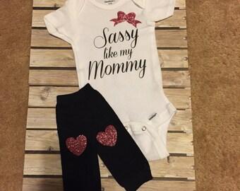 Newborn Sassy Onesie and Leg Warmers