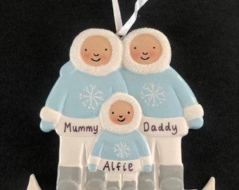 Personalised Christmas Tree Decoration. Family Tree Ornament for 3, 4 or 5. Xmas Ornament. Christmas 2021 Decoration