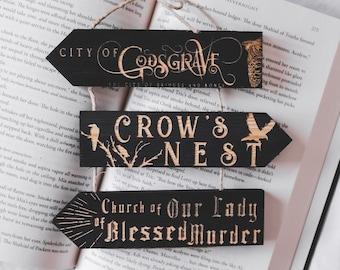 Nevernight Chronicles Wooden signposts, laser engraved, Handmade, Literary merchandising