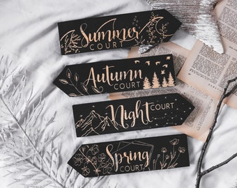 ACOMAF Individual Large Wooden Signpost, Inspired by the Night Court, Spring Court, Autumun Court, Laser engraved, deco for home