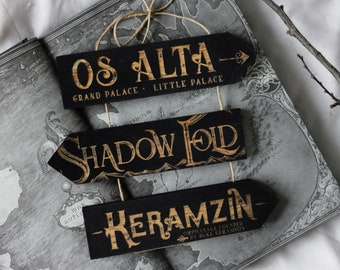Wooden signs, Inspired by the Girshaverse: Os Alta, Shadow Fold and Keramzin